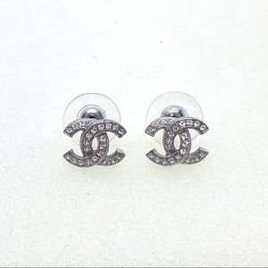 Chanel Authentic Silver Classic Studs